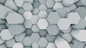Abstract modern hex surface background. Blue hexagonal 3D illustration. Abstract modern hexagonal surface 3D illustration. Bright blue voxel grid particle vector illustration