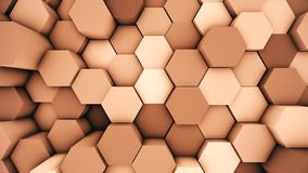 Abstract modern hex surface background. Orange hexagonal 3D illustration. Abstract modern hexagonal surface 3D illustration. Orange voxel grid particle royalty free illustration