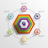 Abstract modern hexagonal infographic. 3d digital illustration Stock Images