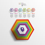 Abstract modern hexagonal infographic. 3d digital illustration.  royalty free illustration