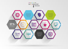 Abstract modern hexagonal infographic. 3d digital illustration. Vector Stock Images
