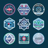 Abstract modern isolated label set. Luxury conceptual badge, futuristic symbol, product identity design, geometric shape vector illustration. Creative and Royalty Free Stock Image