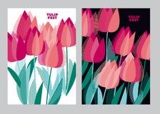 Abstract modern levendig bloemenmotief voor oppervlakteontwerp Koele spri Stock Afbeelding