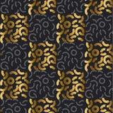 Abstract modern meetkunde repitable motief voor oppervlakteontwerp Koel gouden en zwart naadloos patroon Royalty-vrije Stock Fotografie