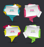 Abstract modern origami speech bubble set. Stock Photos