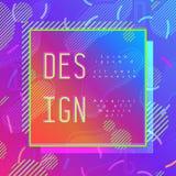 Abstract modern pop-art vectorkader in de in stijl van Memphis met voorbeeld van ontwerptekst Royalty-vrije Stock Foto