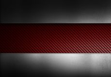 Red carbon fiber with metal texture. Abstract modern red carbon fiber with polished metal plates. Textured material design for background, wallpaper, graphic royalty free illustration
