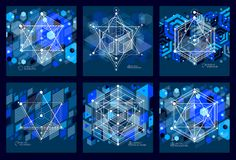 Abstract modern retro blue black 3D backgrounds set, geometric f. Uturistic shapes vector illustration. Abstract scheme of engine or engineering mechanism vector illustration