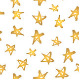 Abstract modern seamless pattern with gold stars. Hand drawn golden stars on white.  Stock Photos