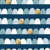Abstract modern seamless vector background. Horizontal lined up arcs, half circles. Blue hues, gold foil. Modern geometric pattern stock illustration