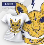 Abstract modern t-shirt print design with cat. Stock Image