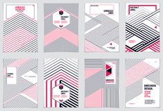 Abstract Modern Vector minimal template Flyers. Vector geometric. Patterns abstract backgrounds set. Design templates for booklets, greeting cards, invitations Royalty Free Stock Image