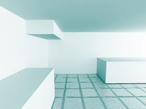 Abstract Modern White Architecture Empty Interior Background Stock Photos