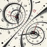 Abstract Modern white surreal spiral clock fractal Twisted watch unusual abstract texture background. High resolution clock twirl vector illustration