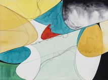 An Abstract Modernist Painting. Colorful Contemporary Art, with Paint and Graphite. An Abstract Modernist Painting. Colorful Contemporary Art, using Paint and stock illustration