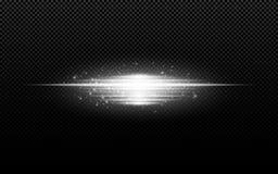 Abstract modieus lichteffect voor een transparante achtergrond Witte gloeiende neonlijnen in motie Wit lichtgevend stof en glans  stock illustratie