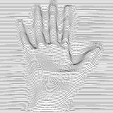 Abstract moire vector op art hand. Monochrome graphic black and white ornament. royalty free illustration