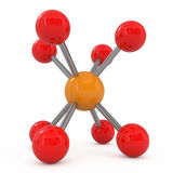 Abstract Molecular Structure. Isolated on white - 3d illustration Royalty Free Stock Images