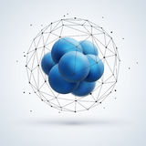 Abstract molecular structure with blue particles Royalty Free Stock Photo