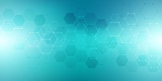 Abstract molecular structure and chemical elements. Medical, science and technology concept. Geometric background from. Hexagons Royalty Free Stock Photography