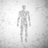 Abstract molecule based human figure concept stock illustration