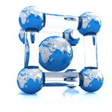 Abstract molecule with Earth model. On a white background royalty free illustration