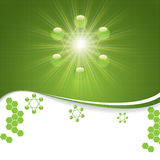 Abstract molecule green colors background Stock Photo