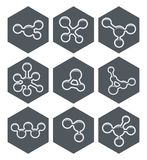 Abstract molecule icons design. vector. Abstract molecule icons design. hexagon science logo isolated on white background. vector vector illustration