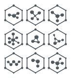 Abstract molecule icons design. vector. Abstract molecule icons design. hexagon science or medical logo isolated on white background. set of flat gray color Royalty Free Illustration
