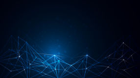 Abstract molecule structure on dark blue color background Royalty Free Stock Images