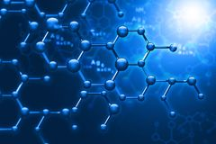 Abstract Molecules. Science and technology background. 3d illustration stock illustration