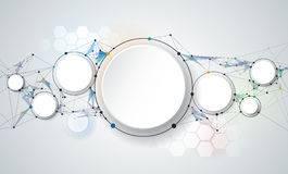 Abstract molecules and 3d paper circles with Blank space for your content. Template, communication, business, network and web design. Vector illustration Royalty Free Stock Photos