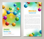 Abstract molecules design flyers. Abstract molecules design. Vector illustration. Atoms. Medical background for banner or flyer. Molecular structure with Royalty Free Stock Photo