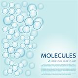 Abstract molecules design, gloss blue particles. Abstract gloss blue molecules design. EPS 10 vector illustration. Atoms. Medical background for banner or flyer stock illustration