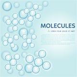 Abstract molecules design, gloss blue particles Stock Photos