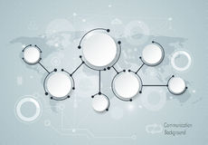Abstract molecules and global social media communication technology concept with 3D paper label Stock Photo