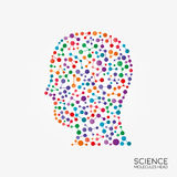 Abstract molecules head silhouette. Molecular structure vector, creative colorful head silhouette. Illustration, isolated background Vector Illustration