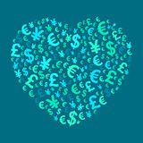 Abstract money heart Stock Photo