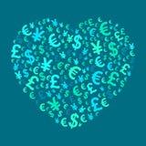 Abstract money heart Stock Photo