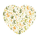 Abstract money heart Stock Images