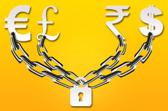Protect your money. Abstract chained money security concept on yellow background Stock Photos