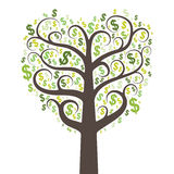 Abstract money tree with dollars Stock Image