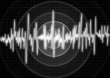 Earthquake wave diagram.Illustration. Abstract monitor visualization of earthquake Royalty Free Stock Image