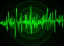 Earthquake wave diagram.Illustration. Abstract monitor visualization of earthquake Royalty Free Stock Photo