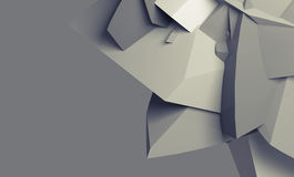 Abstract monochrome digital chaotic polygonal surface. With fragments. Background texture, 3d illustration Stock Photo