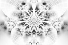 Abstract monochrome flower on white background. Intricate symmetrical pattern in black and white colors. Fantasy fractal design for posters, wallpapers or t Stock Photos