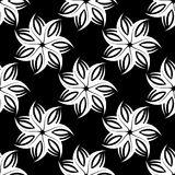 Abstract monochrome flowers white seamless/repeat pattern/texture. White on black stock illustration