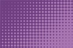 Abstract monochrome halftone pattern. Comic background. Dotted backdrop with circles, dots, point. Purple, lilac color. Abstract monochrome halftone pattern Stock Image