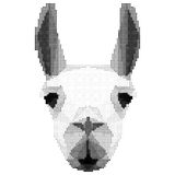 Abstract monochrome llama portrait of circles  on white. Background for use in design Stock Photography