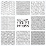Abstract Monochrome Seamless Background Patterns Royalty Free Stock Images